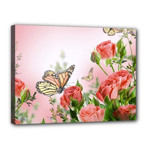 Flora Butterfly Roses Canvas 16  X 12