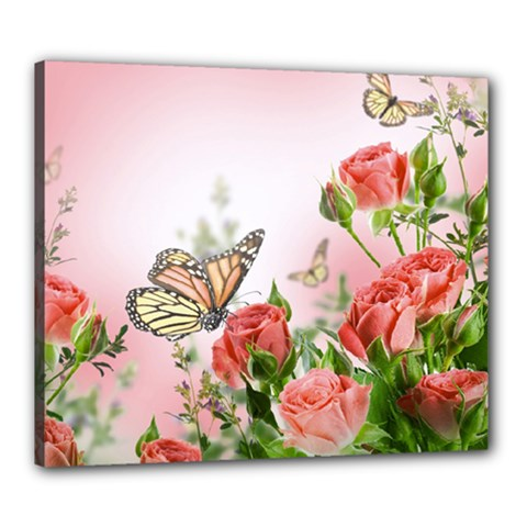 Flora Butterfly Roses Canvas 24  X 20