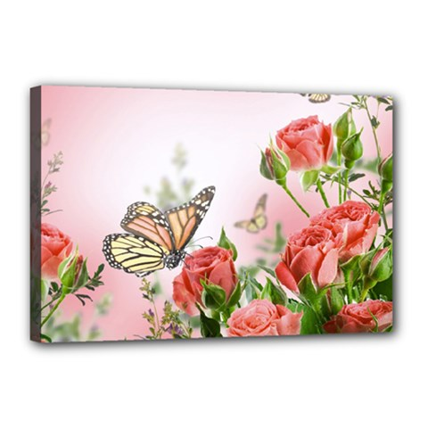 Flora Butterfly Roses Canvas 18  X 12