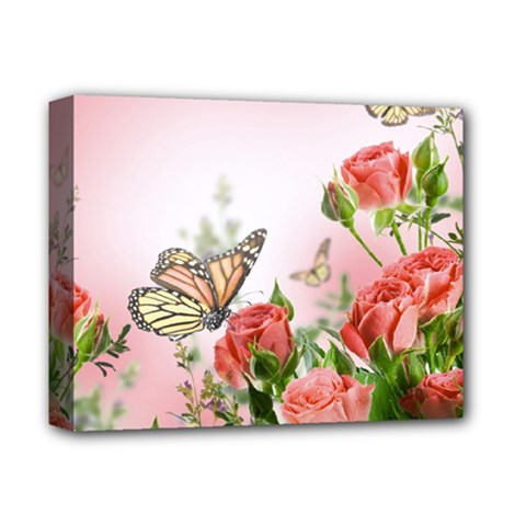 Flora Butterfly Roses Deluxe Canvas 14  X 11