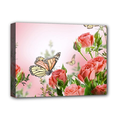 Flora Butterfly Roses Deluxe Canvas 16  X 12