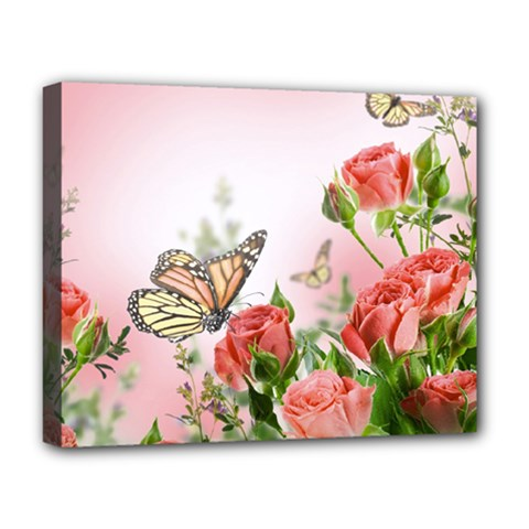 Flora Butterfly Roses Deluxe Canvas 20  X 16
