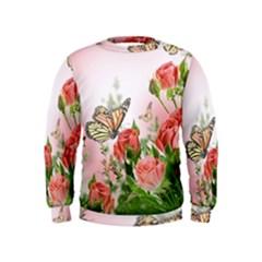 Flora Butterfly Roses Kids  Sweatshirt
