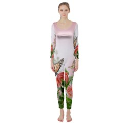 Flora Butterfly Roses Long Sleeve Catsuit