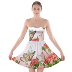 Flora Butterfly Roses Strapless Bra Top Dress