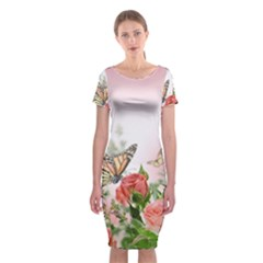Flora Butterfly Roses Classic Short Sleeve Midi Dress