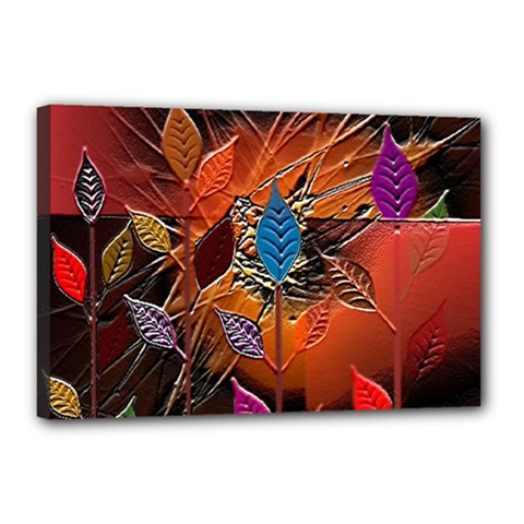 Colorful Leaves Canvas 18  X 12