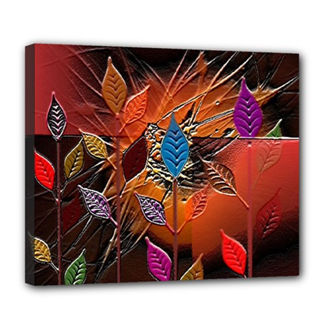Colorful Leaves Deluxe Canvas 24  X 20