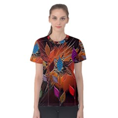 Colorful Leaves Women s Cotton Tee