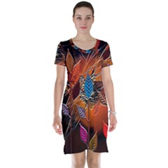 Colorful Leaves Short Sleeve Nightdress
