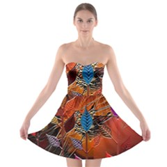 Colorful Leaves Strapless Bra Top Dress