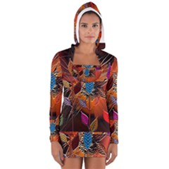 Colorful Leaves Long Sleeve Hooded T Shirt