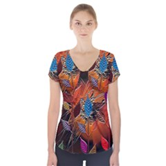 Colorful Leaves Short Sleeve Front Detail Top