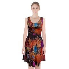 Colorful Leaves Racerback Midi Dress