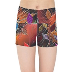 Colorful Leaves Kids Sports Shorts