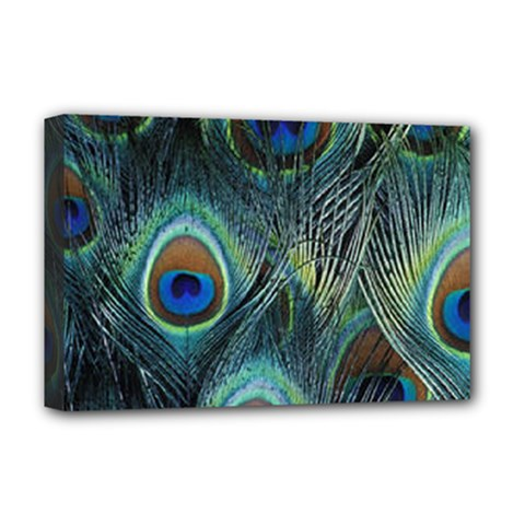 Feathers Art Peacock Sheets Patterns Deluxe Canvas 18  X 12