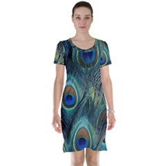Feathers Art Peacock Sheets Patterns Short Sleeve Nightdress