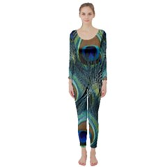 Feathers Art Peacock Sheets Patterns Long Sleeve Catsuit
