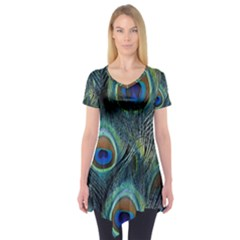Feathers Art Peacock Sheets Patterns Short Sleeve Tunic