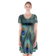 Feathers Art Peacock Sheets Patterns Short Sleeve V Neck Flare Dress