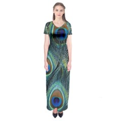 Feathers Art Peacock Sheets Patterns Short Sleeve Maxi Dress