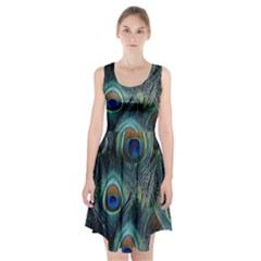 Feathers Art Peacock Sheets Patterns Racerback Midi Dress