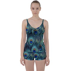 Feathers Art Peacock Sheets Patterns Tie Front Two Piece Tankini