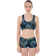 Feathers Art Peacock Sheets Patterns Work It Out Sports Bra Set