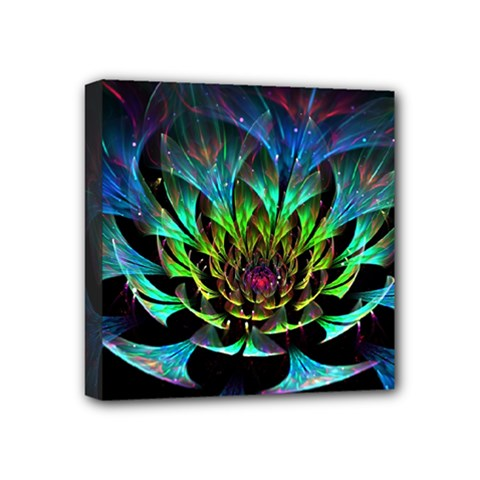 Fractal Flowers Abstract Petals Glitter Lights Art 3d Mini Canvas 4  X 4