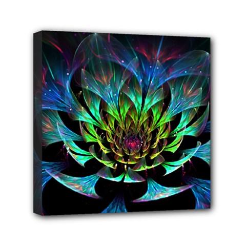 Fractal Flowers Abstract Petals Glitter Lights Art 3d Mini Canvas 6  X 6