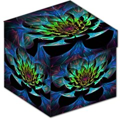 Fractal Flowers Abstract Petals Glitter Lights Art 3d Storage Stool 12