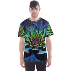 Fractal Flowers Abstract Petals Glitter Lights Art 3d Men s Sports Mesh Tee