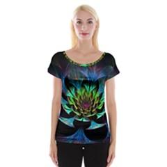 Fractal Flowers Abstract Petals Glitter Lights Art 3d Cap Sleeve Tops