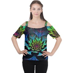 Fractal Flowers Abstract Petals Glitter Lights Art 3d Cutout Shoulder Tee