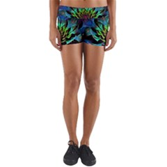 Fractal Flowers Abstract Petals Glitter Lights Art 3d Yoga Shorts