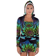 Fractal Flowers Abstract Petals Glitter Lights Art 3d Long Sleeve Hooded T Shirt