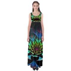 Fractal Flowers Abstract Petals Glitter Lights Art 3d Empire Waist Maxi Dress