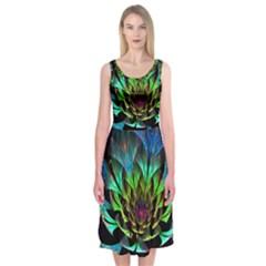 Fractal Flowers Abstract Petals Glitter Lights Art 3d Midi Sleeveless Dress