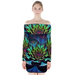 Fractal Flowers Abstract Petals Glitter Lights Art 3d Long Sleeve Off Shoulder Dress