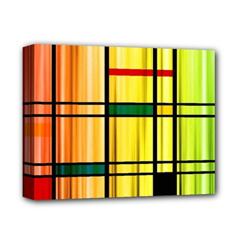 Line Rainbow Grid Abstract Deluxe Canvas 14  X 11