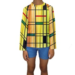 Line Rainbow Grid Abstract Kids  Long Sleeve Swimwear