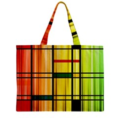 Line Rainbow Grid Abstract Zipper Mini Tote Bag