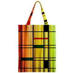 Line Rainbow Grid Abstract Zipper Classic Tote Bag
