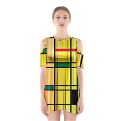Line Rainbow Grid Abstract Shoulder Cutout One Piece