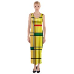 Line Rainbow Grid Abstract Fitted Maxi Dress
