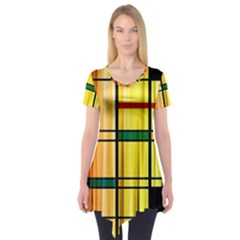 Line Rainbow Grid Abstract Short Sleeve Tunic