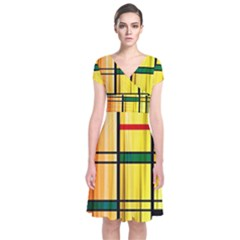 Line Rainbow Grid Abstract Short Sleeve Front Wrap Dress