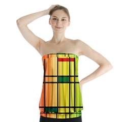 Line Rainbow Grid Abstract Strapless Top