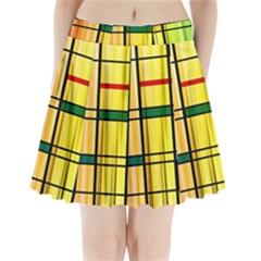 Line Rainbow Grid Abstract Pleated Mini Skirt
