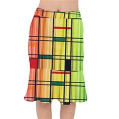 Line Rainbow Grid Abstract Mermaid Skirt